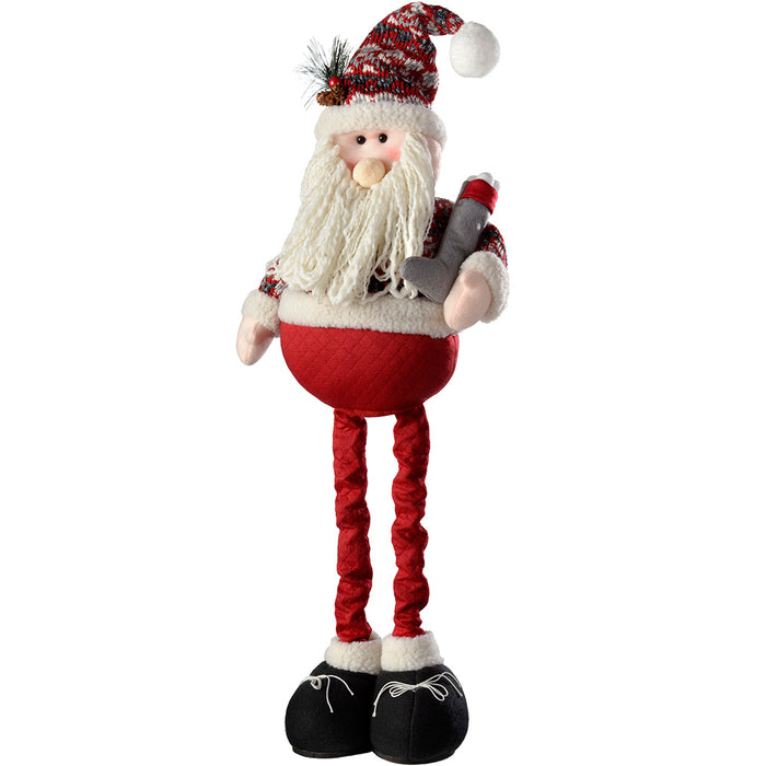 Standing Santa with Extendable Legs Christmas Decoration, Red/Grey, 46 - 61 cm