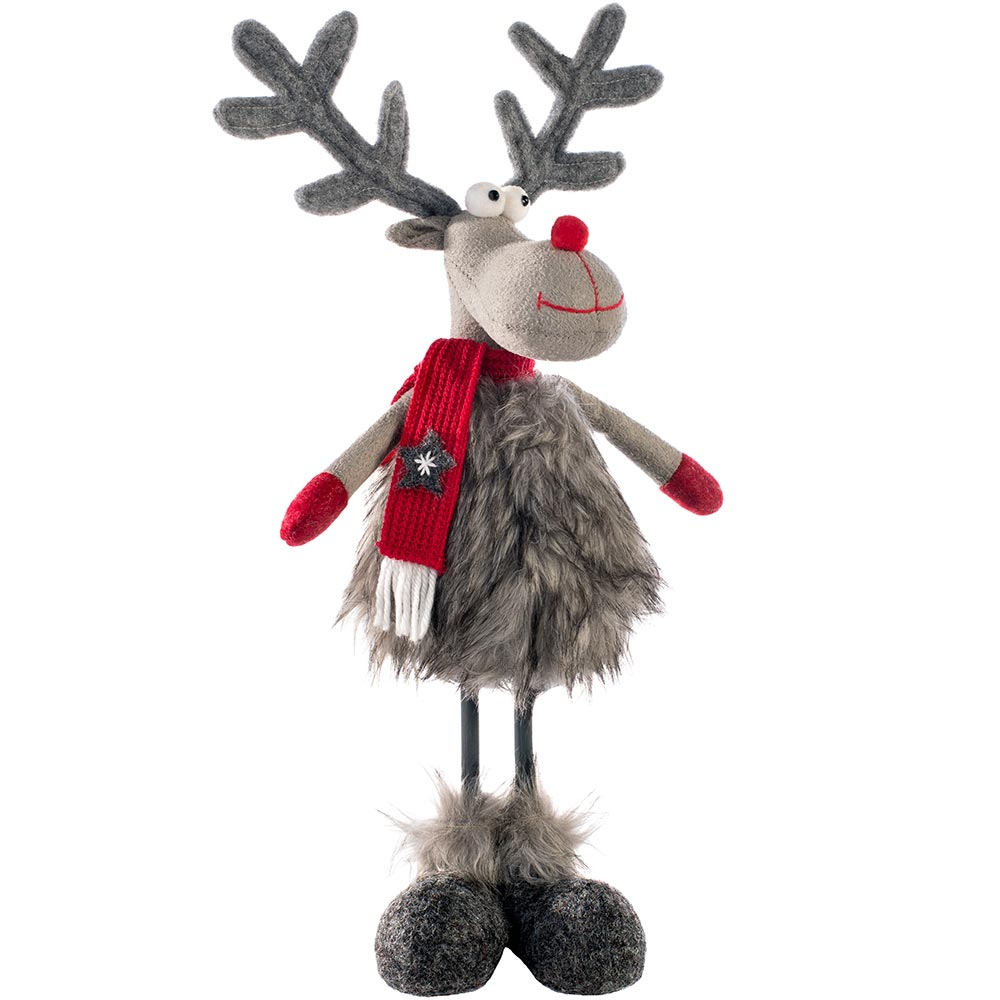 Standing Christmas Reindeer Figurine, Red and Grey, 32 cm
