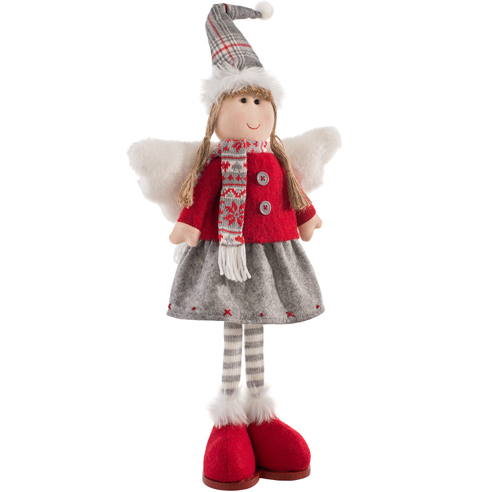 Standing Christmas Angel Figurine, Red and Grey, 47 cm