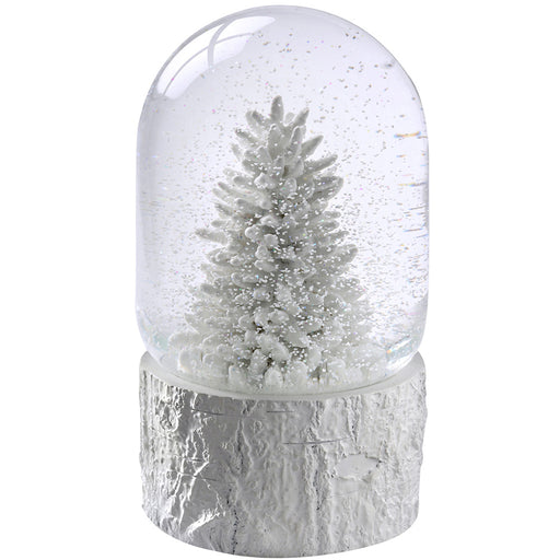 Christmas Tree Scene Musical Snow Globe Decoration, 17 cm - White
