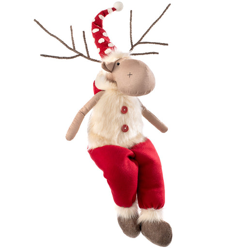 Sitting Christmas Reindeer Figurine with Soft Legs 61 cm