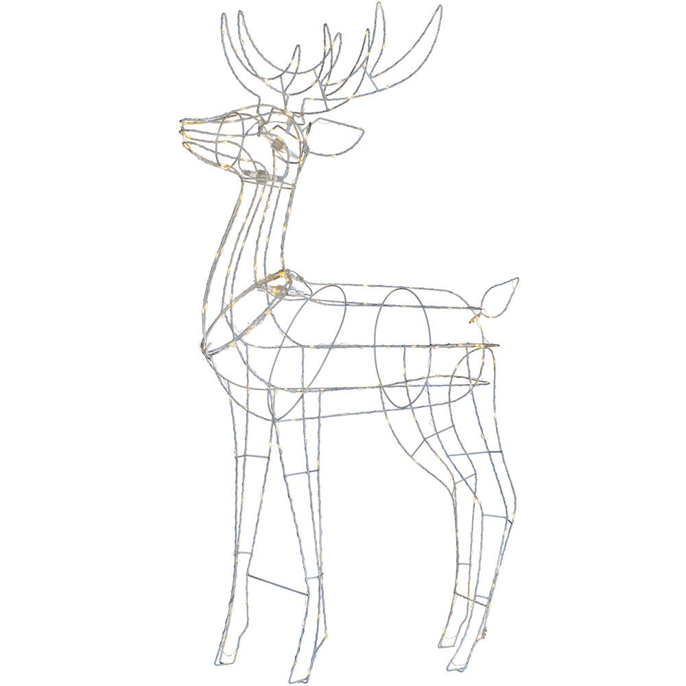 3D Metal Standing Stag Reindeer Silhouette Christmas Decoration, 250 Warm White LEDs, 110 cm