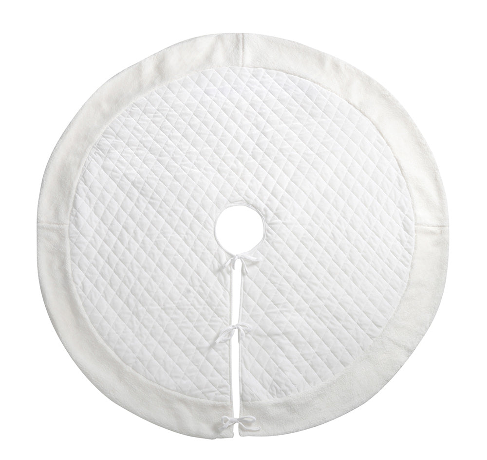 Quilted Christmas Tree Skirt Decoration, 140 cm - Large, Pure White