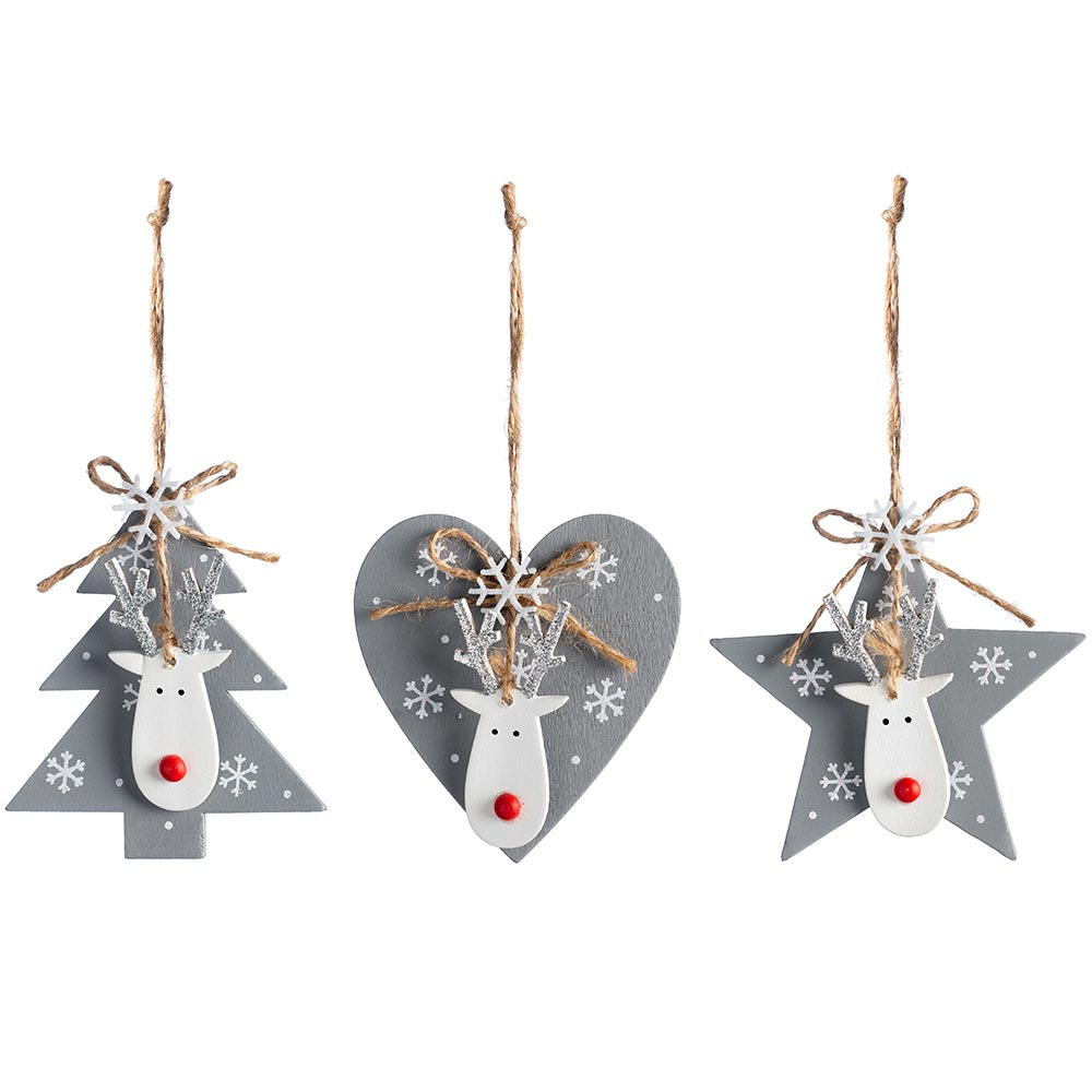 Set of 6 Hanging Christmas Decorations 9 cm