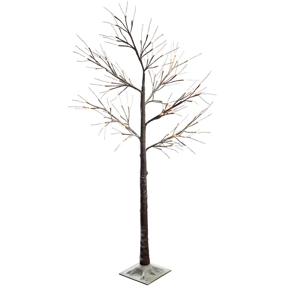 Pre-Lit LED Twig Christmas Tree with Snow Effect Decoration- Brown/Warm White