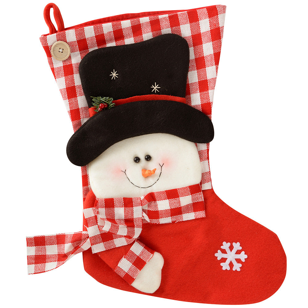 Christmas Stocking with 3D Snowman, 52 cm - Red/White