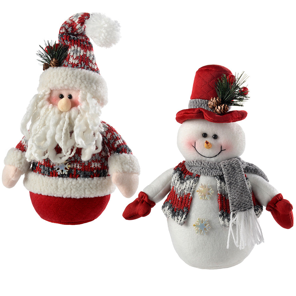 Santa Snowman Christmas Table Decorations, Red/Grey, 25 cm, Set of 2