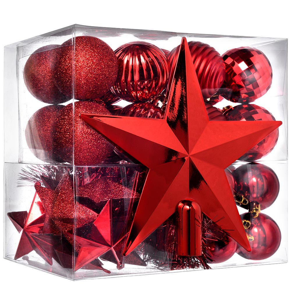 Shatterproof Baubles with Tree Topper and Garland, 42-Piece