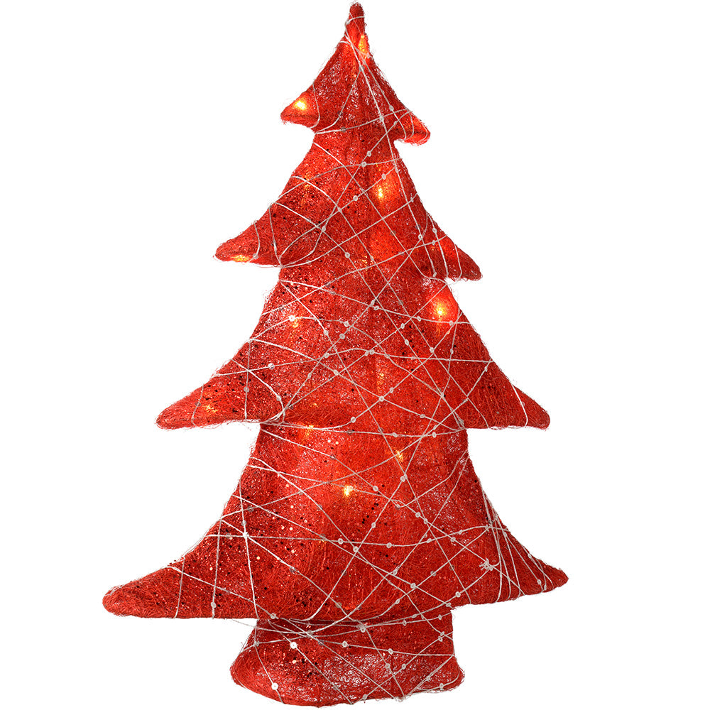 Pre-Lit Sisal and Woven Christmas Tree Decoration, Warm White LED Lights, 58 cm - Red