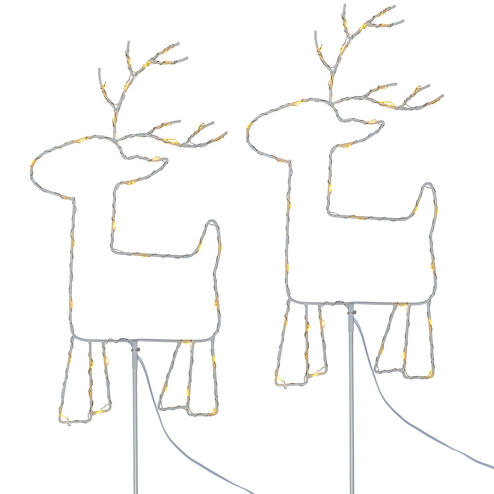 Christmas Reindeer Pathway Stake Garden Light Decorations, 76 Warm White LEDs, Set of 2, 1 m