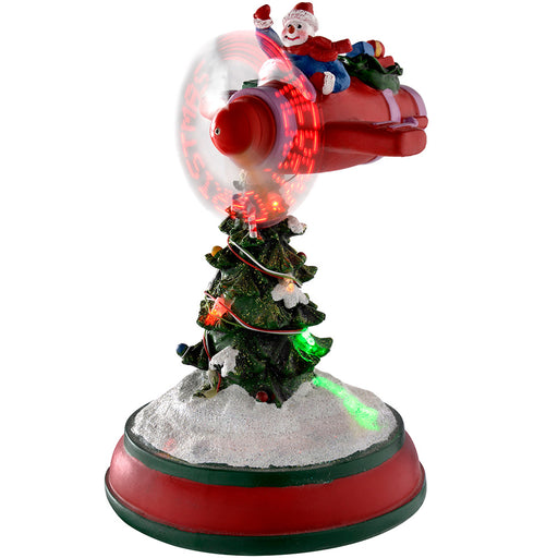 33 cm Spinning Snowman Flying an Aeroplane with Colourful Fibre Optic Lights