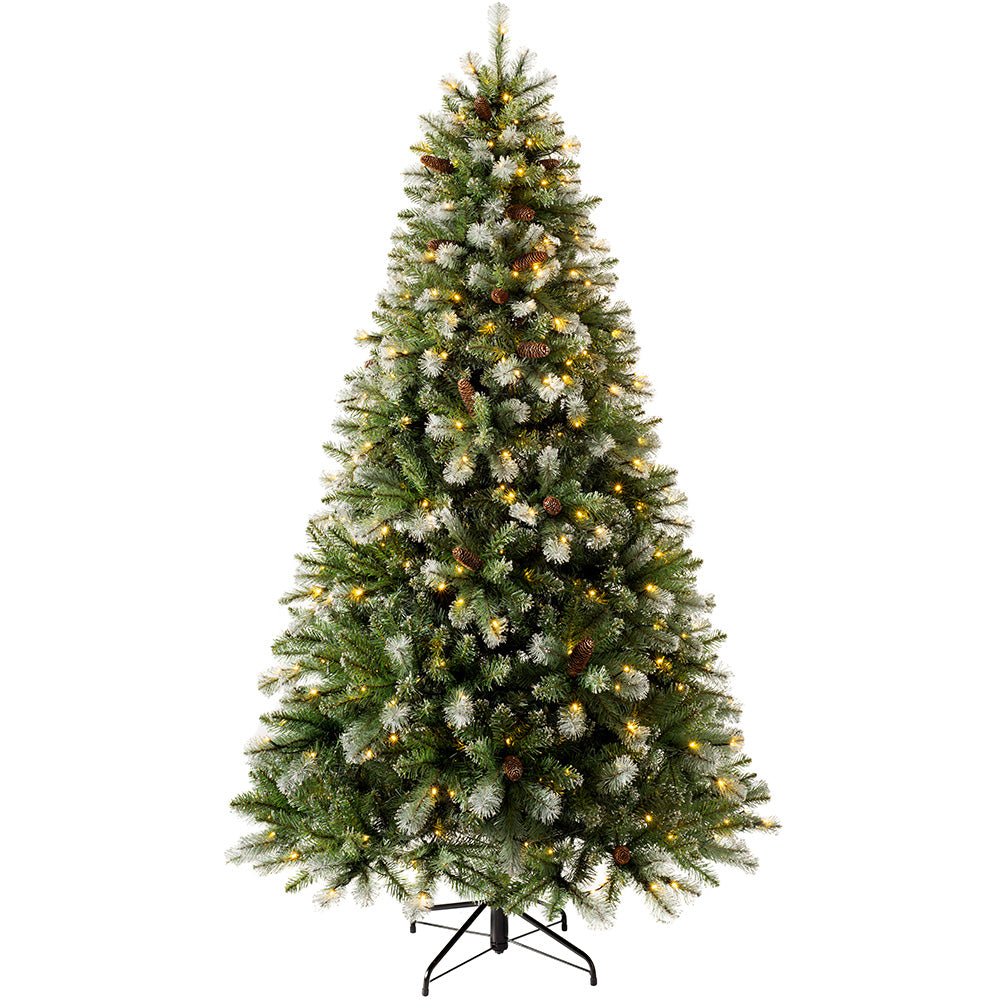 Pre-lit Blue Brockton Spruce Christmas Tree, Multi-Function LED Lights
