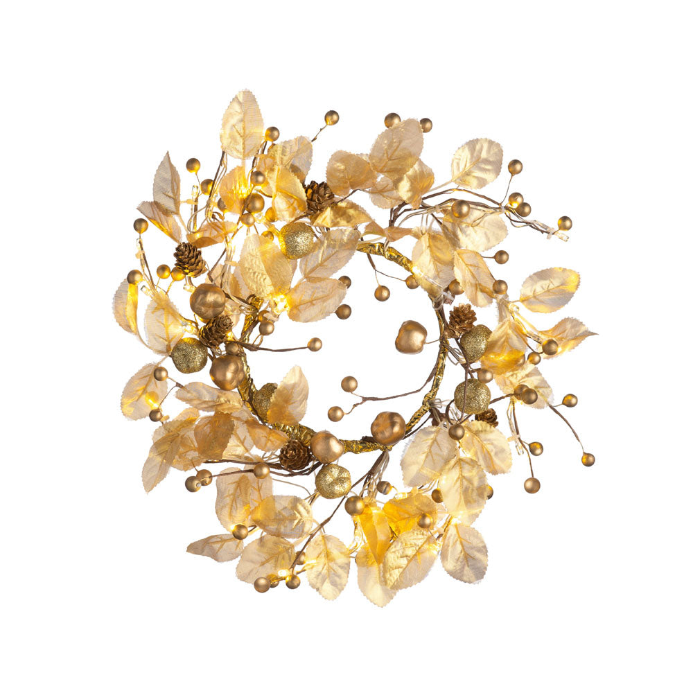 Pre-Lit Decorated Wreath, Gold, 45 cm