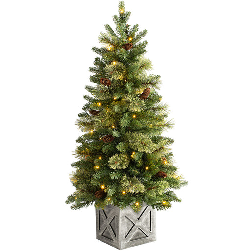 Pre-Lit Natural Pine Potted Christmas Tree with 50 Warm White LED Lights 3.5 ft / 1 m