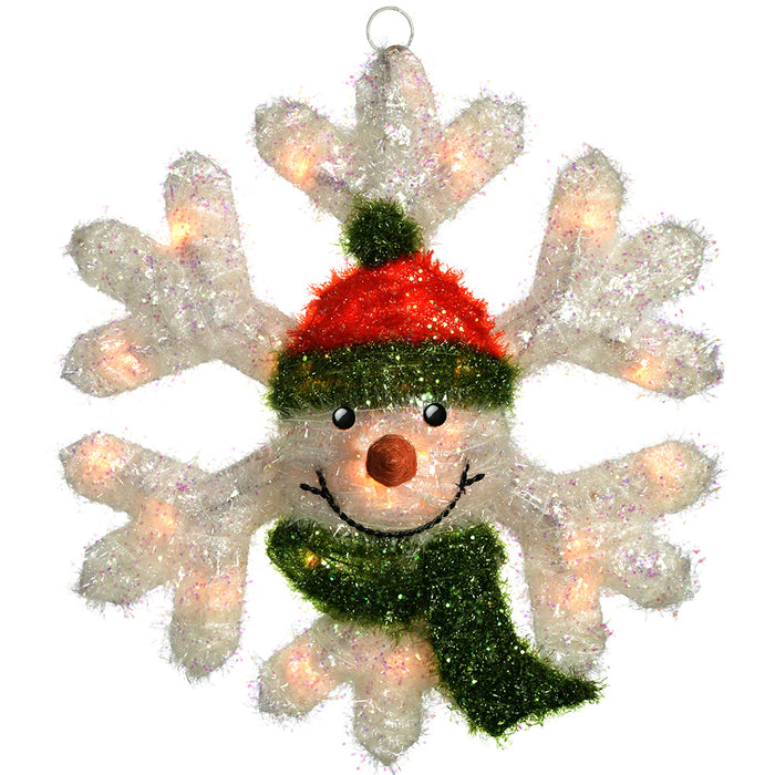 Pre-Lit Snowman Snowflake Christmas Decoration with 35 Warm Lights, 53 cm - Large, White