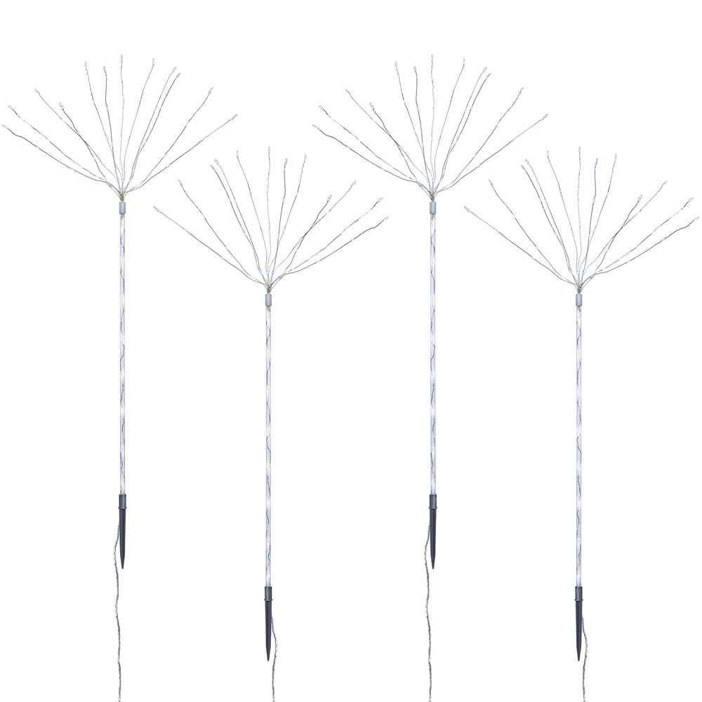 Set of 4 Firework Garden Stake Pathway Light Decorations, White Copper Wire LED Lights, 96cm
