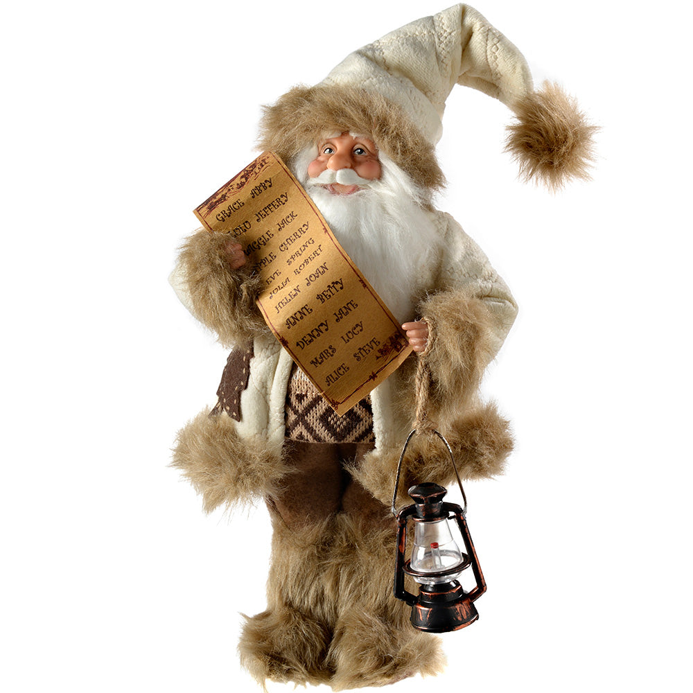 Standing Santa in Fur Outfit Christmas Decoration, 31 cm - White/Brown