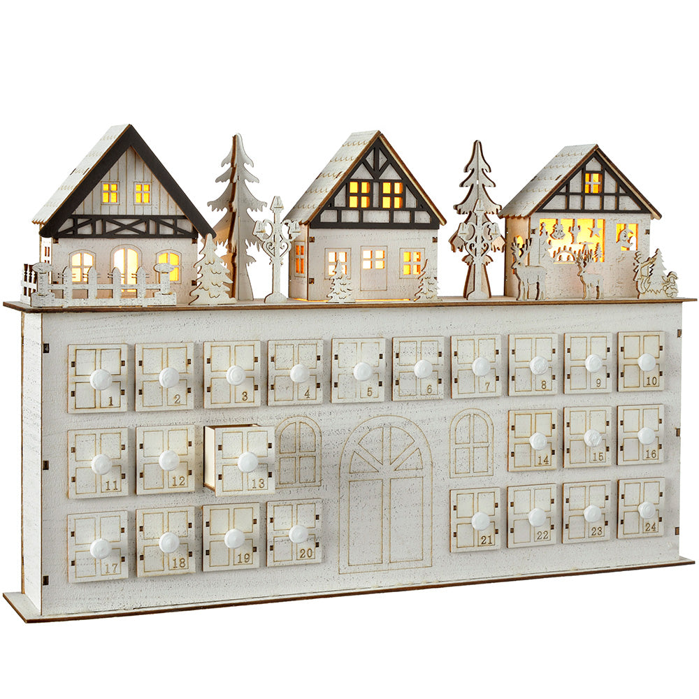 Pre-Lit Wooden Village Scene House Advent Calendar Christmas Decoration, 44 cm - White