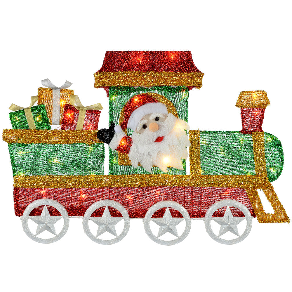 Pre-Lit Train Silhouette with 35 Lights and Tinsel, 78 cm - Large, Warm White
