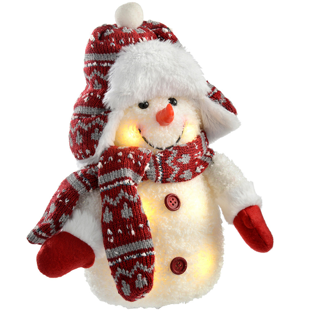 Pre-Lit LED Snowman with Fairisle Knitted Outfit, Multi-Colour, 25 cm