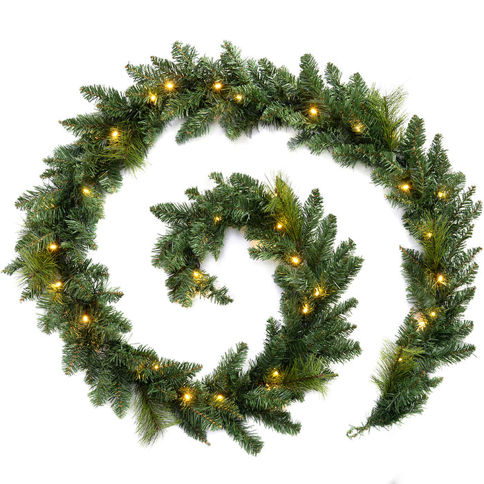 Plain Pre-Lit Garland Christmas Decoration with 40 Warm White LED Lights 9 ft - Green
