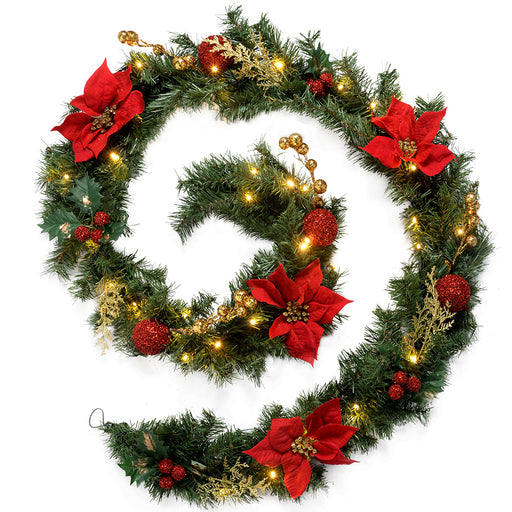 Decorated Pre-Lit Garland Christmas Decoration with 40 Warm White LED Lights 9 ft - Red/Gold