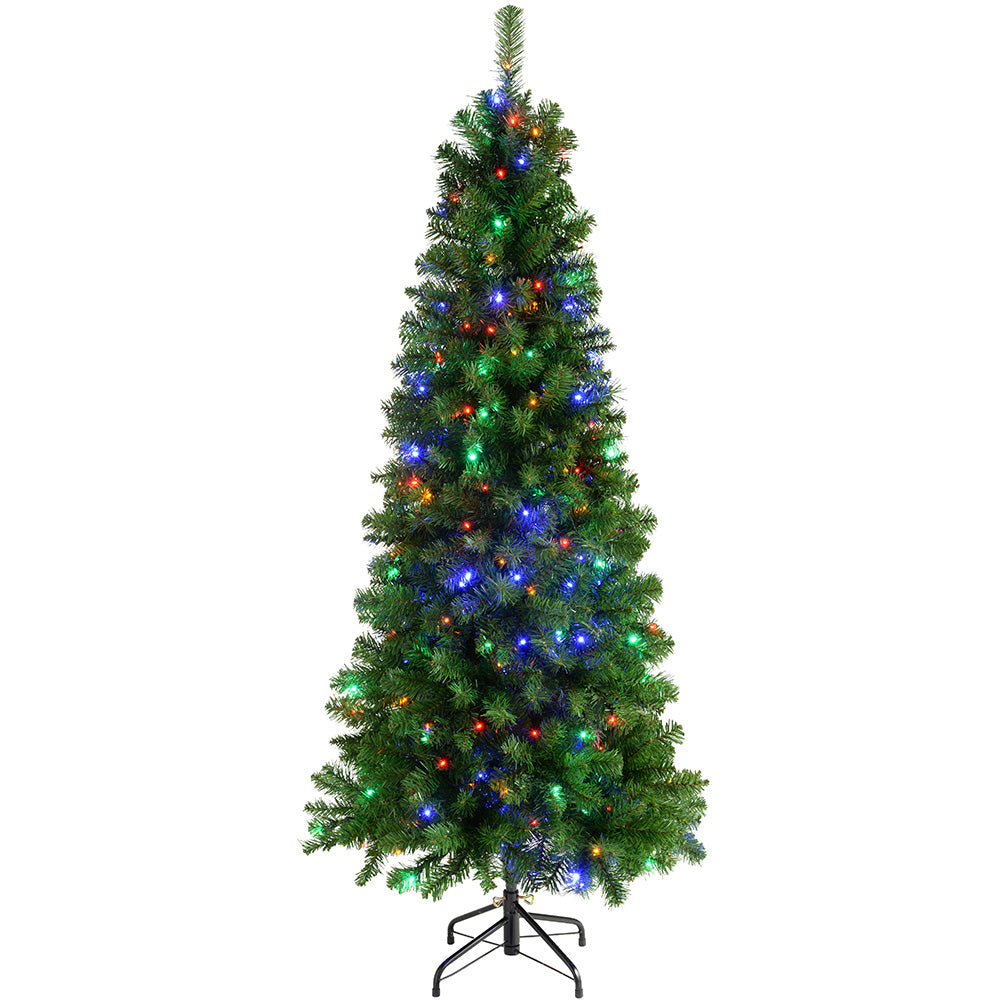 Pre-Lit Slim Christmas Tree with 200 Multi-Colour LED Lights