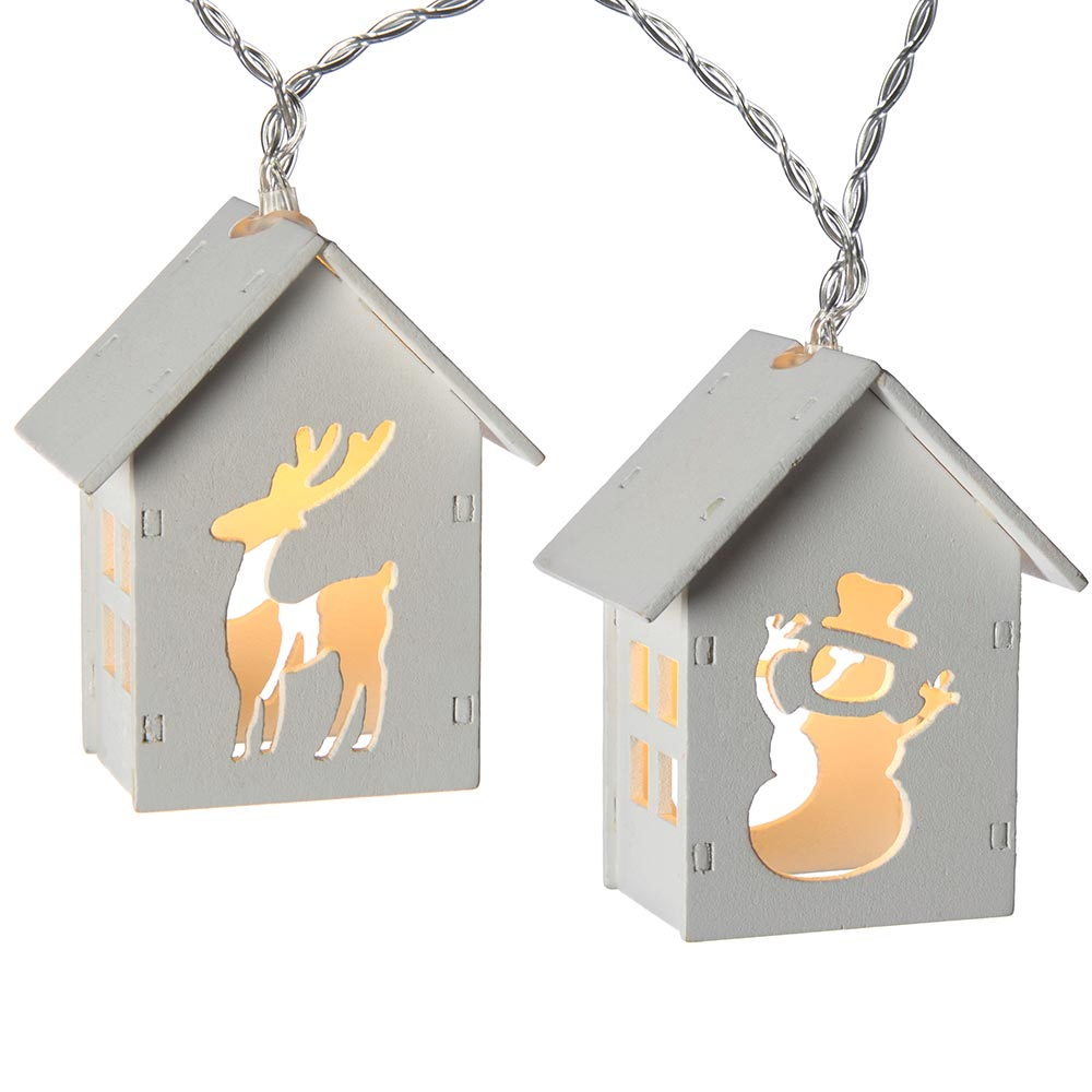 10-LED Wooden House Light String - White