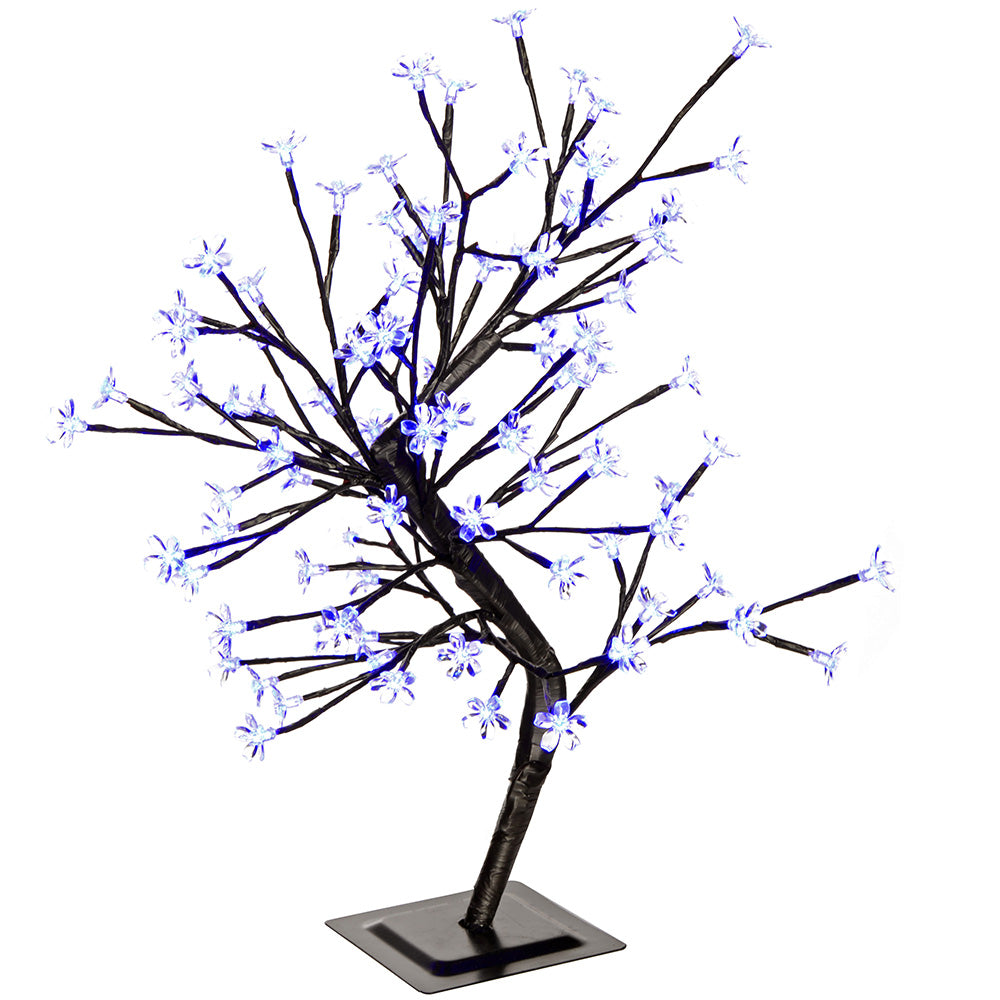 Pre-Lit 96 LED Illuminated Cherry Blossom Tree, Blue, 2 ft/60 cm