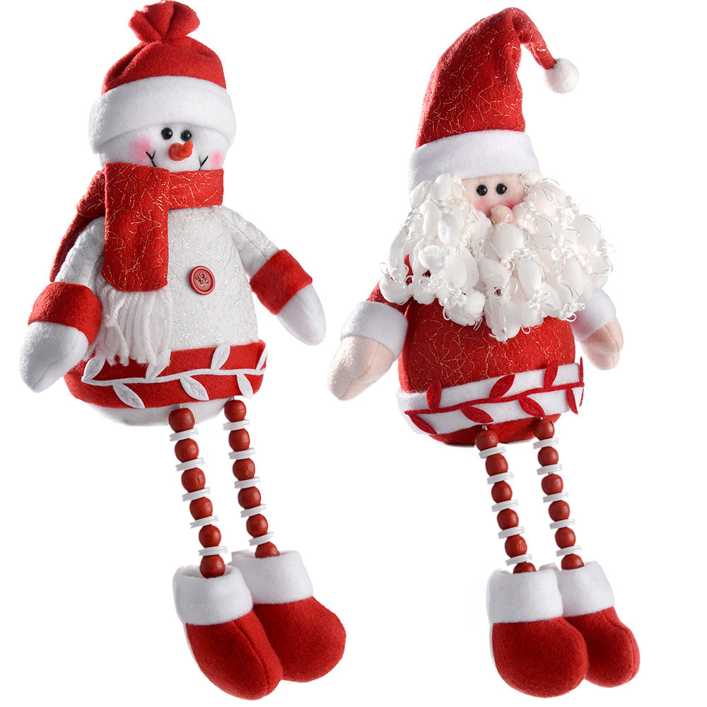 Sitting Santa and Snowman Christmas Decoration, 32 cm - Red/White, Set of 2