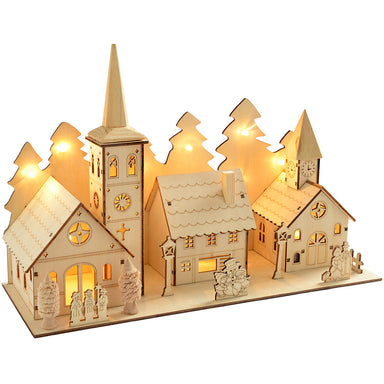 Pre-Lit Wooden Church and Village Scene Illuminated with 12 Warm White LED Lights, 35 cm