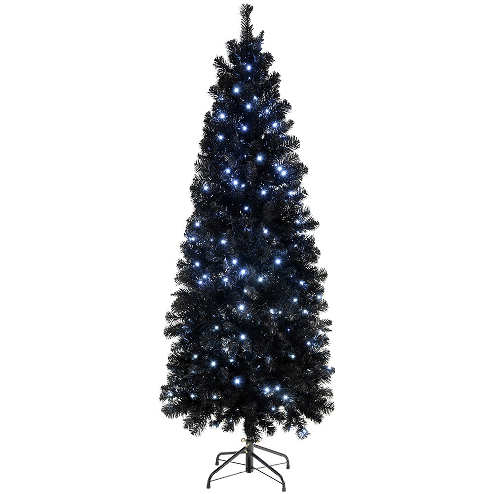 Pre-Lit Slim Black Christmas Tree with 200 White LED Lights