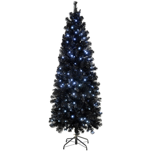 Pre-Lit Slim Black Christmas Tree with 200 White LED Lights 6 ft/1.8 m