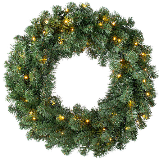 Luxury Pre-Lit Plain Wreath with 50 Chasing LED Lights & Timer Function 76 cm / 30 inch