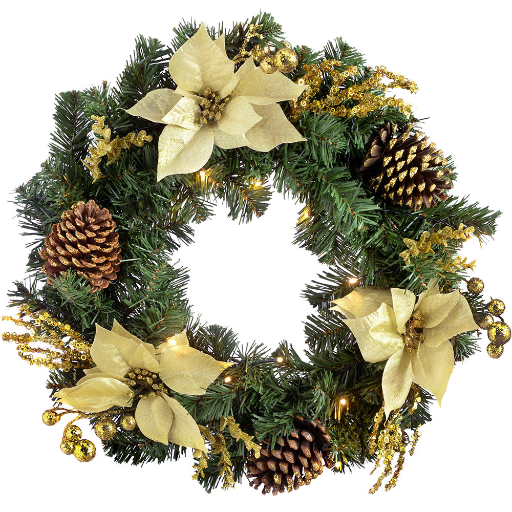 Pre-Lit Decorated Wreath Illuminated with 20 Cold White LED Lights, 60 cm - Gold/Cream
