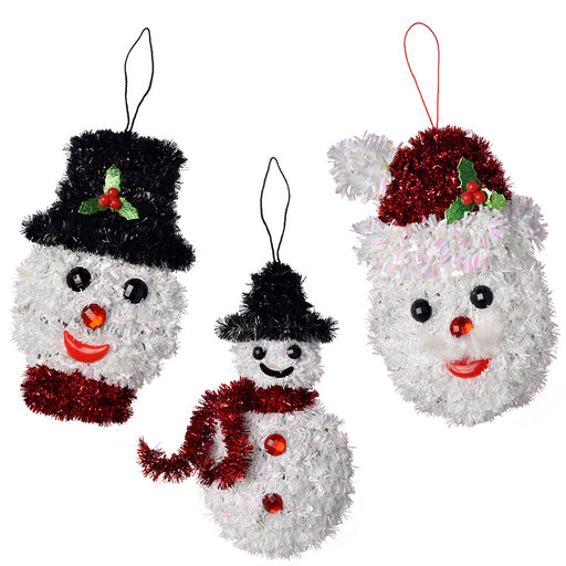 Snowman Tinsel Hanging Christmas Ornaments, 16 cm - Pack of 3