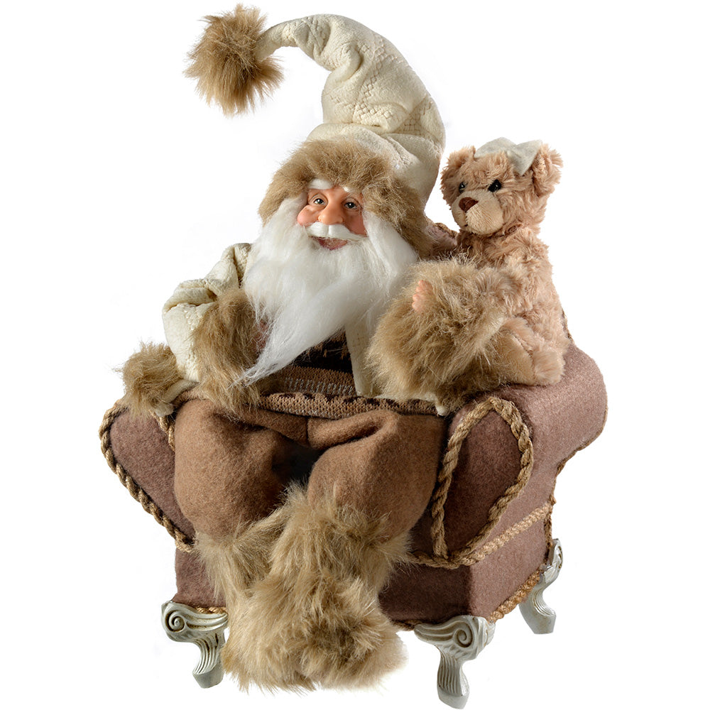 Santa in His Armchair Christmas Decoration, 28 cm - White/Brown