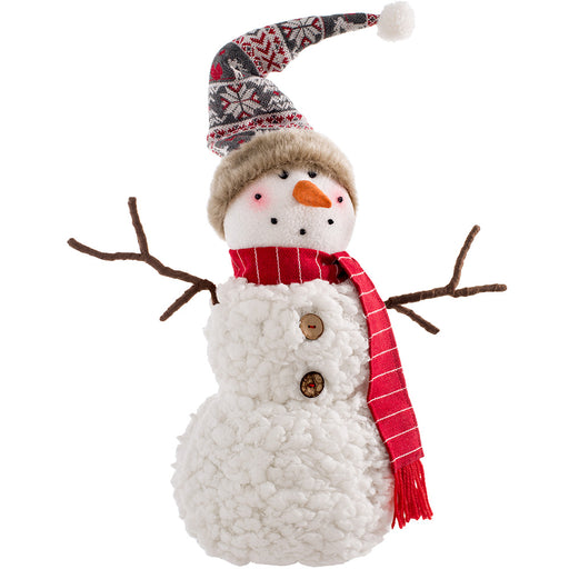 Standing Christmas Snowman Figurine with Twig Arms 39 cm