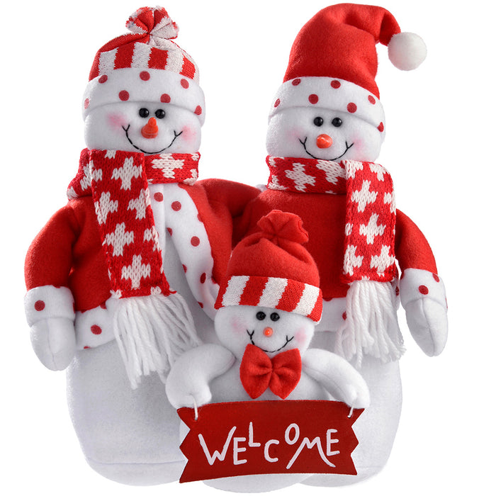 Snowman Family Christmas Decoration, 28 cm - Red/White