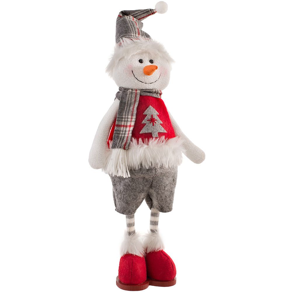 Standing Christmas Snowman Figurine, Red and Grey, 43 cm