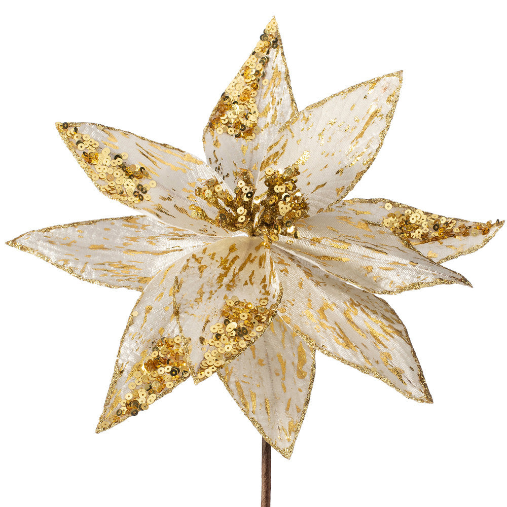 Artificial Poinsettia Christmas Tree Flower Decoration, Gold, 28 cm