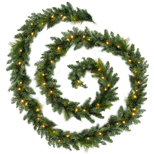 Plain Pre-Lit Garland Christmas Decoration with 52 Warm White LED Lights 12 ft - Green