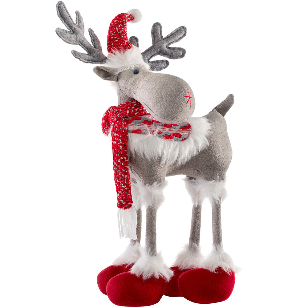 Standing Christmas Reindeer Figurine with Four Legs, Red and White, 40 cm