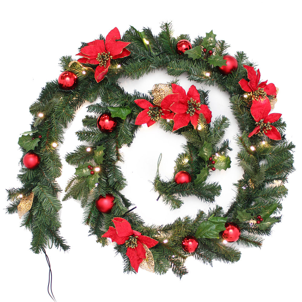 Decorated Pre-Lit Garland Illuminated with 40 Warm White LED Lights, 9 ft - Red/Gold
