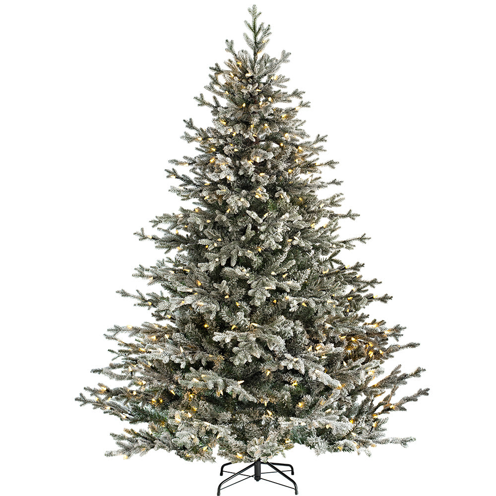 Snow Flocked Fraser Fir Christmas Tree with Chasing Warm LED Lights