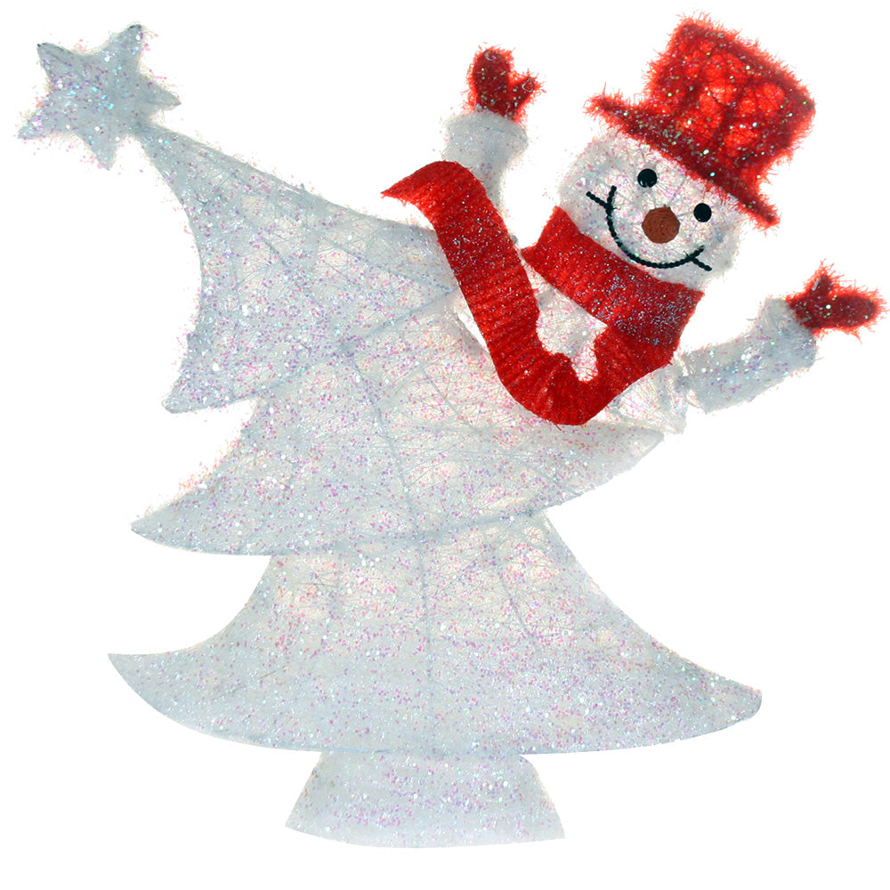Pre-Lit Snowman and Tree Illuminated with 55 Warm Lights, 61 cm - Large, White