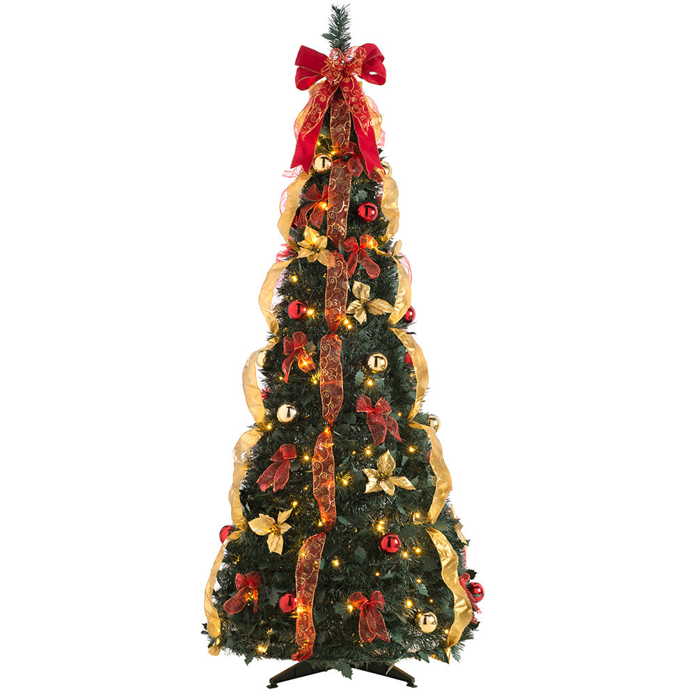 Pre Decorated Holly Popup Christmas Tree, 150 Warm White LED, Red & Gold