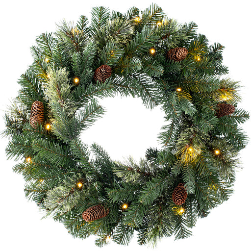 Pre-Lit Natural Pine Christmas Wreath with 20 Warm White LED Lights 24 inch