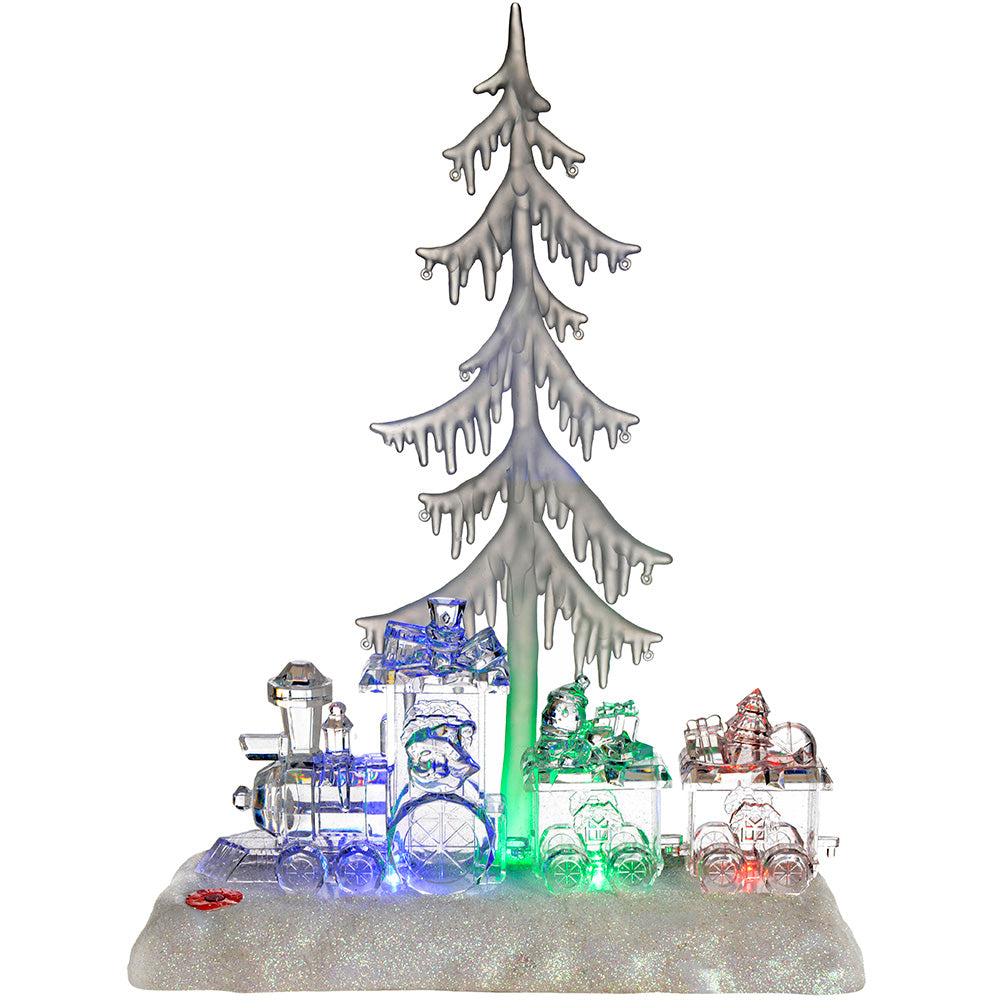 Pre-Lit Colour Changing LED Musical Christmas Tree and Train Scene Decoration, 35 cm