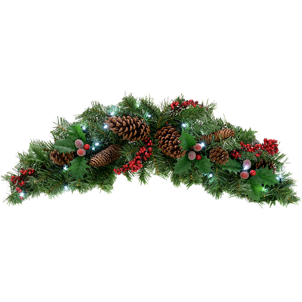 Natural Pinecone and Berry Pre-Lit Arch Garland Illuminated with 20 Cool White LED Lights
